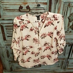 Rue 21 ivory floral blouse